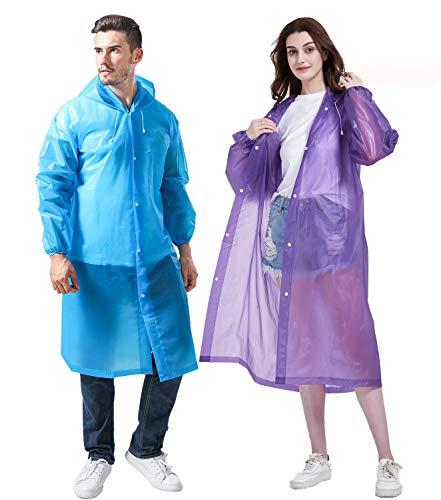 Gorain Pro Raincoat for Adults, [Pack of 2] EVA Rain Coats Reusable Rain Poncho with Hood & Long Sleeves & One Reusable Pouch