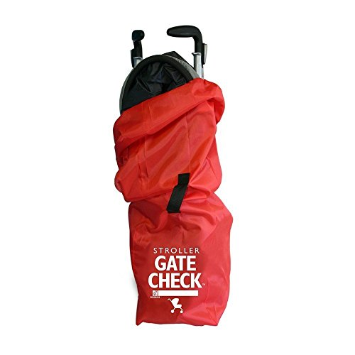 J.L. Childress Gate Check Bag for Single Umbrella Strollers, Durable and Lightweight, Water-Resistant, Drawstring Closure with Adjustable Lock, Webbing Handle, Includes Stretch Zipper Pouch, Red