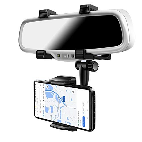 Car Rearview Mirror Phone Holder- Car Phone Mount- Phone Bracket, Phone Stand with 270° Swivel and Adjustable Clips, Universal Smartphone Cradle, Black