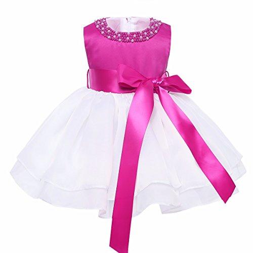 iiniim Princesse Robe Demoiselle d'honneur Blanc Bébé Fille sans Manches en Organza Tutu Col Perle Robe de Bal Mariage Anniversaire 9 Mois-3 Ans Rose Vif 3 Ans