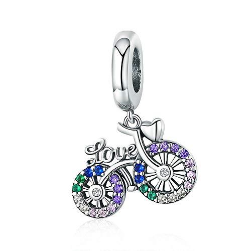 Fiets 925 Sterling Zilver Crystal Bike Fiets Vorm Hanger Bedels fit Originele Armbanden & Kettingen DIY Sieraden Gift