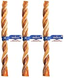 Barkworthies 3 Pack of Odor-Free American Twisted Bully Sticks Dog Chews, 12 Inch, Made in The USA