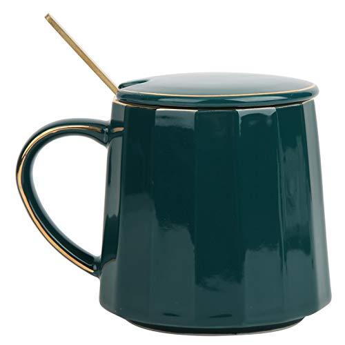 Taza de café de cerámica con tapa y cuchara Taza de agua verde Taza de té Taza de leche de la mañana Regalo único para viajes de oficina en casa, 12 oz
