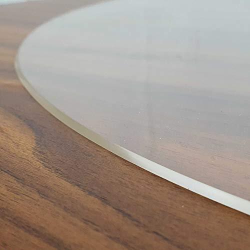 Transparente Folie 2mm abgeschrägte V Kante, glasklar und Hochglanz Schutzfolie Tischschutz Tischdecke Größe wählbar Rund 90 cm Schutztischdecke Made in Germany