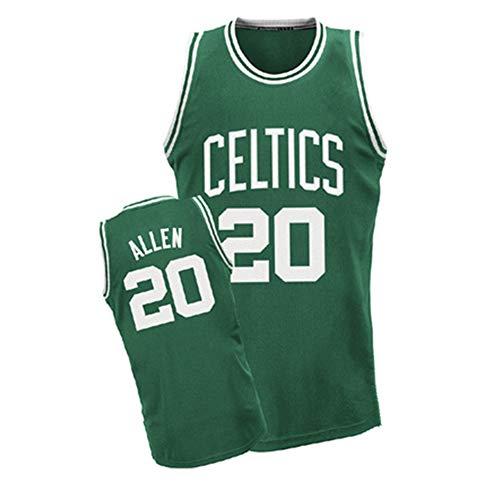 Maglia da Basket da Uomo-Boston Celtics 20# Ray Allen Maglia da Basket Retro Rimbalzo Top da Ricamo Swingman Costume da Basket Regalo di Compleanno (S-XXL)-Green-M(170cm.175cm)