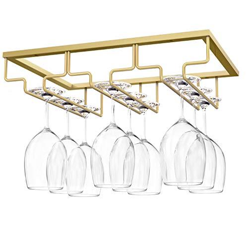Nuovoware Soporte para Copas de Vino, Soporte para Colgar Copas de Vino Debajo del Gabinete para Cocina, Bar, Pub, Vidrio, Dorado, Almacenamiento para Barra de Gabinete de Cocina (3 Filas) - Oro