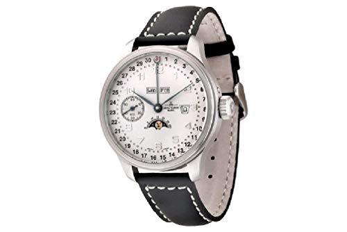 Zeno Watch Basel Reloj para Hombre Analógico Meccanico con Brazalete de Cuero 8597-e2-Zodiac