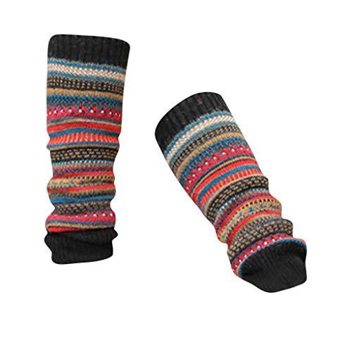 KaloryWee Retro Damen Strümpfe Hohe Socken Mode Patchwork Farbe Twist Socken Stricken Praktische Wärme Europäische Fashionista Empfohlen