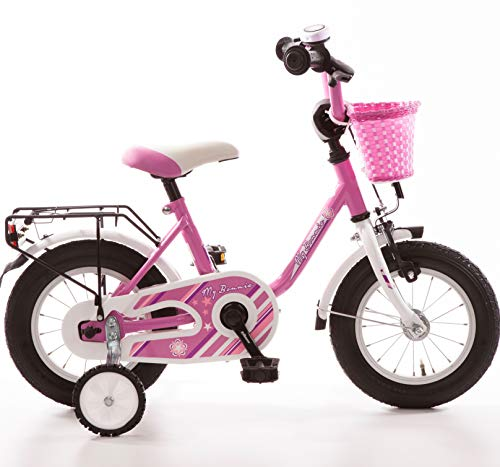 Bachtenkirch Kinderfahrrad 12 Zoll Fahrrad Kinder ab 3 Jahre Mädchen Fahrräder Kinderrad Mädchenfahrrad Rad Pink Weiss Lila Rücktrittbremse Stützräder Korb