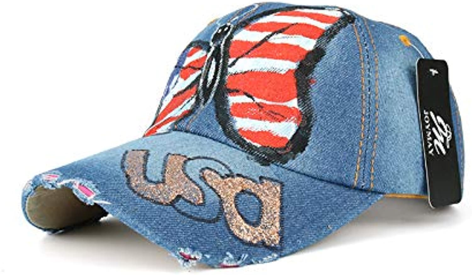 AAMOUSE Baseball Cap Butterfly USD Painting Jean Baseball Cap Adjustable Hip Hop Cap Leisure Casual Snapback HAT