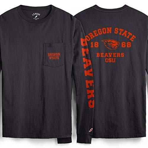 NCAA League Mens Oregon State Beavers L/S Pocket Tee, Large, Vintage Black