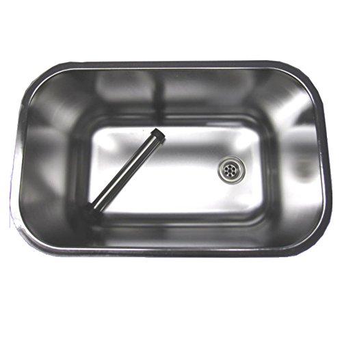 Gastro Spülbecken aus Edelstahl 50x30x30cm mit Ablaufventil & Standrohr
