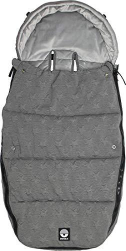 Dooky Footmuff Knitted Star Grey Large Baby Sac pour poussette et siège auto (6-36 mois, hiver, résistant à l'eau et au vent, pour harnais 3 et 5 points), Gris