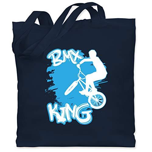 Shirtracer Radsport - BMX King - Unisize - Navy Blau - XT600_Jutebeutel_lang - WM101 - Stoffbeutel aus Baumwolle Jutebeutel lange Henkel
