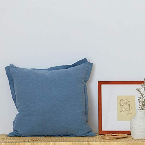 SDCVRE Funda de Almohada Funda de cojín Lisa de Lino de algodón 50x50cm Funda de Almohada Verde Mostaza Azul con Flecos para decoración del hogar sofá Cama sofá, Azul