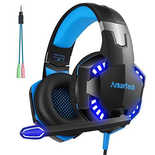 ARKARTECHG2000ゲーミングヘッドセットヘッドホンヘッドフォンゲームヘッドセットマイク付きゲーム用PCパソコンスカイプfps対応男女兼用プレゼントブルー