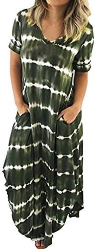 Dresses for Women Casual Summer Women s Boho Casual Maxi Short Sleeve Split Tie Dye Long Dress product image