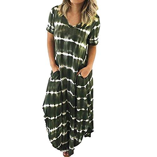 Dresses for Women Casual Summer,Women's Boho Casual Maxi Short Sleeve Split Tie Dye Long Dress with Pockets