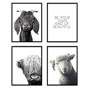 BABY ANIMAL PICTURES FOR NURSERY – Farm Animal Nursery Decor – Black and White Nursery Decor – BE YOUR OWN KIND OF BEAUTIFUL Wall Art SIGN – Barnyard Nursery Decor – Motivational Quote NO FRAMES