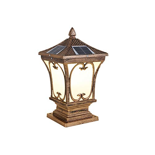 Foicags Cerca puerta pilar patio lámpara de pared solar solar estigma pilar luz luz impermeable led poste enciende luces al aire libre columna faros faros impermeable estilo jardín villa patio lámpara