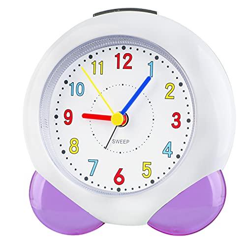 Despertador analógico para niños, Despertador de Viaje, sin Tic TAC, Despertador con luz Nocturna, Reloj analógico silencioso, Despertador de Cuarzo para Dormitorio (Lila103)