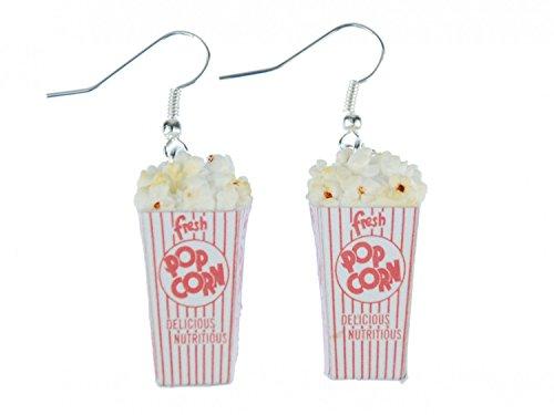 Popcorn Ohrringe Miniblings Hänger Mais Popcorn Tüte 3D Kino weiß rot