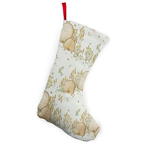 RTBB Paquete de 2 medias de Navidad de 25,4 cm, diseño de colmena, flores de trigo personalizadas, accesorio de fiesta para decoración de vacaciones, chimenea, patio o jardín