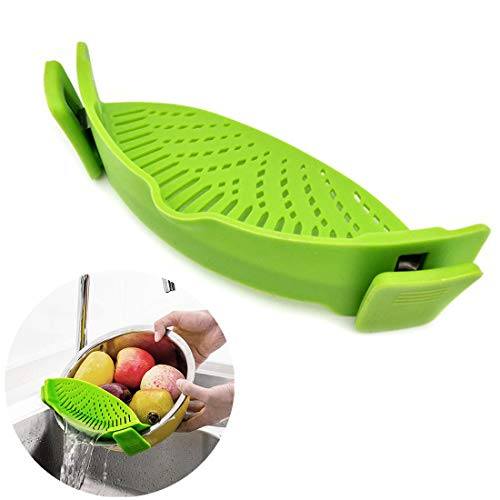 WeTest Heat Resistant Silicone Pot Strainer, Clip on Pots Pans, Pan Strainer for all Pots and Bowls...