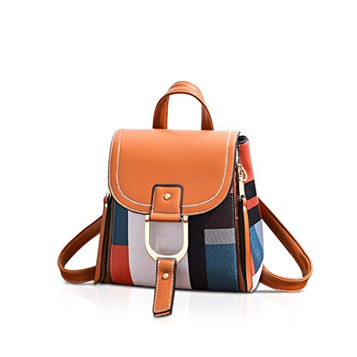 NICOLE&DORIS Womens Backpack Small Backpack Crossbody Bag Handbags Backpack for ladies Leather Rucksack Shoulder Bag Orange