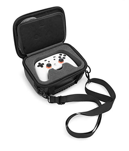 CASEMATIX Gaming Controller Case Compatible with Google Stadia Controller and Accessories, Includes Custom Impact Absorbing Foam and Shoulder Strap