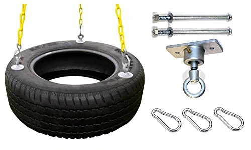 Eastern Jungle Gym Heavy-Duty 3-Chain Rubber Tire Swing Seat with Adjustable Coated Swing Chains, Tire Swivel, Snap Hooks, Mounting Hardware - Swing Set Accessories