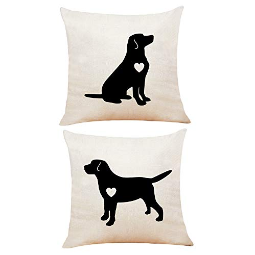 XUWELL Labrador Dog with Heart Reversible Cotton Linen Throw Pillow Cover, Valentines Day Labrador Retriever Gifts for Dog Lover, Cushion Case for Sofa Bed Home Decor 18 x 18 Inch