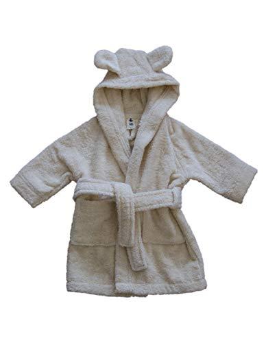 Leela Cotton Baby Kinder Bademantel Bio-Baumwolle mit Kapuze Frottee (98/104, natur)