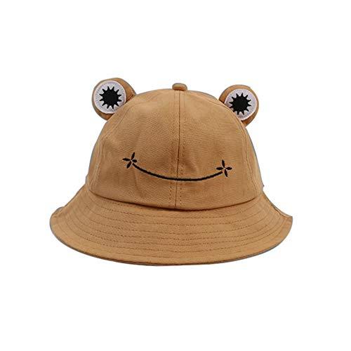 Froschmütze, niedlicher Frosch-Eimerhut, Sommerhut aus Baumwolle, für Erwachsene und Kinder, breite Krempe, Fischerhut