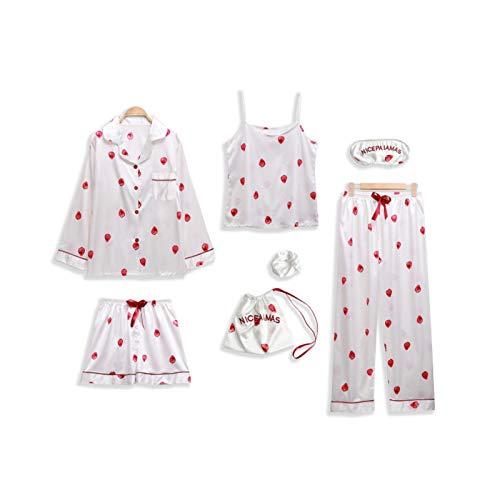 LTDD 7-teiliges Pyjama-Set für Damen mit Hemd und Augenmaske. Gr. X-Large, Weiße Erdbeere
