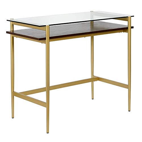 Henn&Hart 36' Finish Shelf Desks, Gold/Brass Walnut