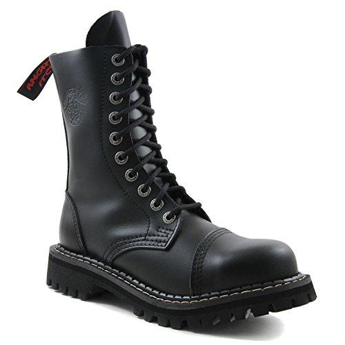 ANGRY ITCH - 10-Loch Gothic Punk Army Ranger Armee Leder Schwarz Stiefel mit Stahlkappe - Größen 36-48 - Made in EU!, EU-Größe:EU-43