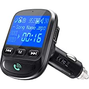 ToHayie QC 3.0 Bluetooth FM Transmitter, Wireless Radio Adapter Hands-Free MP3 Player FM Transmitters Car Kit, 1.44 Inch Display, 2 USB Ports, U Disk, TF Card, AUX Input/Out - Black