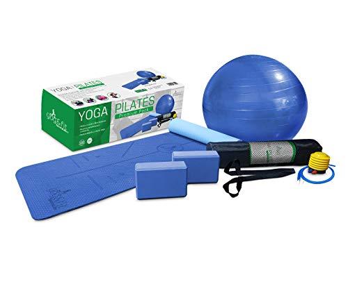 YOG&FIT- Pack Premium Yoga/Pilates. Kit/Set Yoga Principiantes e iniciados (6 Productos) 1 Esterilla Yoga Antideslizante 6mm TPE, 2 Bloques EVA,1 Pelota 65Cm, 1 Bolsa Transporte y 1correa. (Azul)