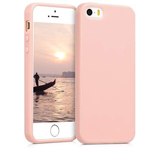 kwmobile Custodia Compatibile con Apple iPhone SE (1.Gen 2016) / 5 / 5S - Cover in Silicone TPU - Back Case per Smartphone - Protezione Gommata Oro Rosa Matt