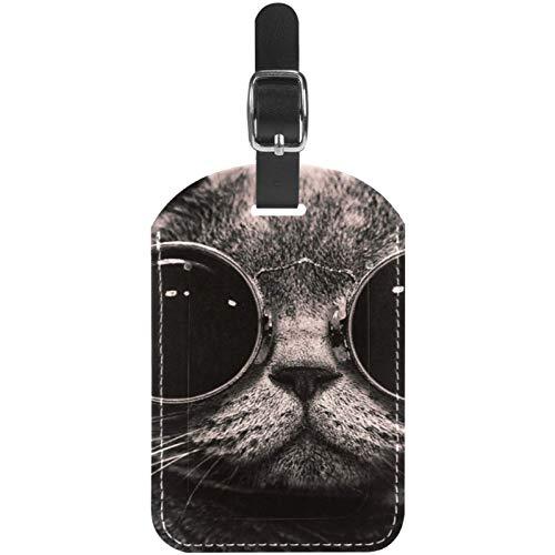 Etiquetas para equipaje de viaje, diseño de gato divertido con gafas, 1 paquete