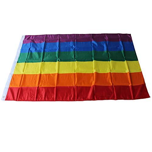 Comtervi Regenbogen Flagge Gay Flagge Gay Pride Flagge LGBT Flagge Regenbogenfahne Rainbow Flag Gay Flag Aufhängen Regenbogen Gay Stolz Fahne für die Schwulenparade (150 x 90 cm)