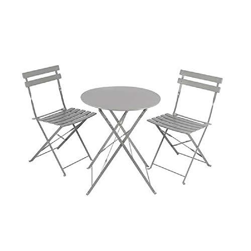 3-delige Bistro Tuintafel, grijs, tafel, balkonset, klaptafel
