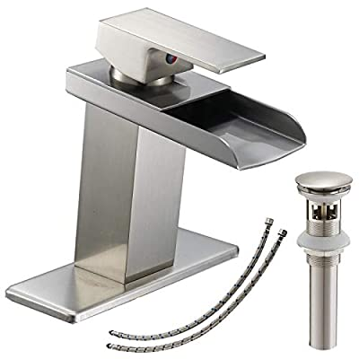 Bathlavish Bathroom Faucet Brushed Nickel Waterfall Lavatory Sink Vanity Single Hole with Pop up Drain with Overflow One Handle Basin Mixer Tap Supply Line