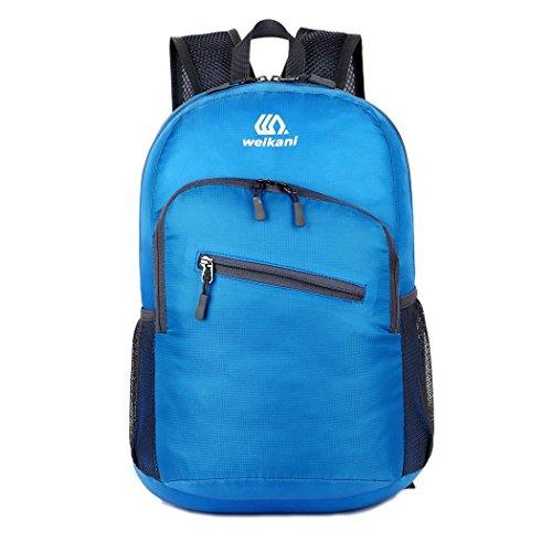 Léger 18L Voyage sac à dos pliable imperméable à l'eau Casual Pack sac à dos extérieur pour randonnée Camping escalade 6 couleurs H43 x L30 x T18 cm , blue