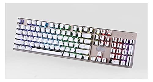 Man-hj Teclados de computadora KEYCAP MECÁNICO KEYCAP PBT Kit MODIFICADOR KEYCAP Interruptor TKL 87 104 Teclado de Teclas de Teclas de Teclas de impresión para el Teclado mecánico. (Color : Silver)