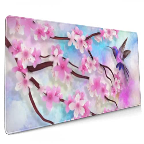 Gaming Mouse Pad Colorful Textural Flowers Branches Flying Gaming Mouse Pads Large Big Computer Keyboard Mouse Mat Desk Pad Non-Slip Pad for Home Office Gaming Work, 35.4x15.7in