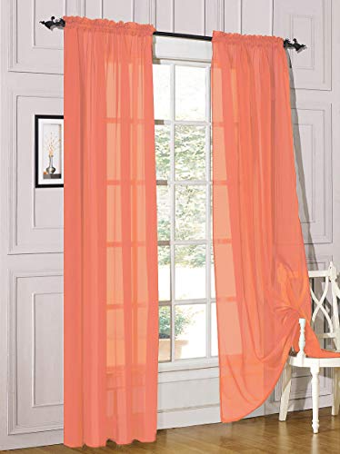 """Decotex 2 Piece Sheer Voile Light Filtering Rod Pocket Window Curtain Panel Drape Set Available in a Variety of Sizes and Colors (54"""" X 63"""", Salmon)"""