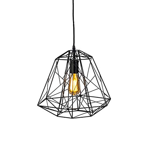 QAZQA Design/Industrie/Industrial/Modern Design Hängelampe schwarz - Retro Framework/Innenbeleuchtung/Wohnzimmerlampe/Schlafzimmer/Küche Stahl Andere LED geeignet E27 Max. 1 x 60 Watt