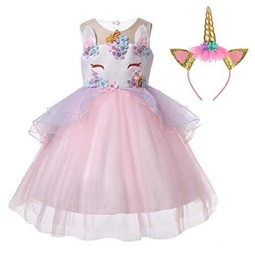 LZH Unicornio Vestido de Niñas Flor Partido Vestido De Princesa Cumpleaños Cosplay
